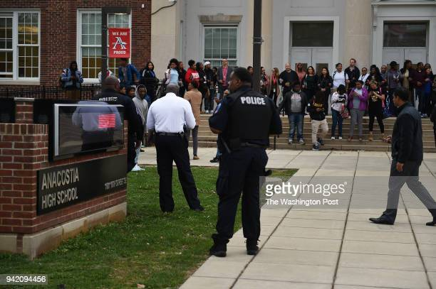Students and teaching staff at Anacostia High School in Southeast Washington DC April 4 walking out to draw attention to the bad condition of the...