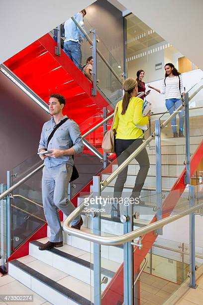Students and Tutors on a Busy Stairway