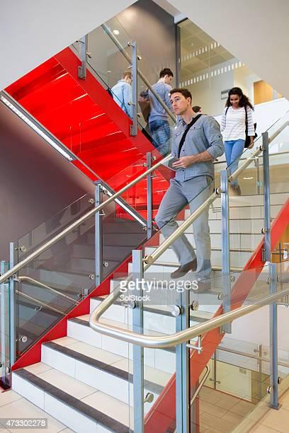 Les étudiants et tutoriels sur une longue escalier