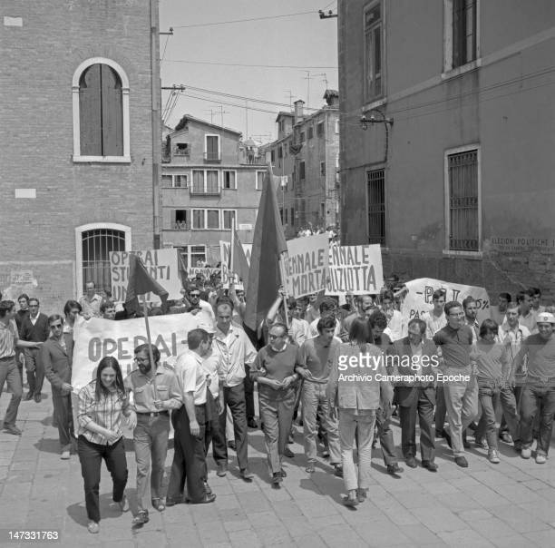 A students and workers demonstration against the Biennale lead by Luigi Nono Venice 1968