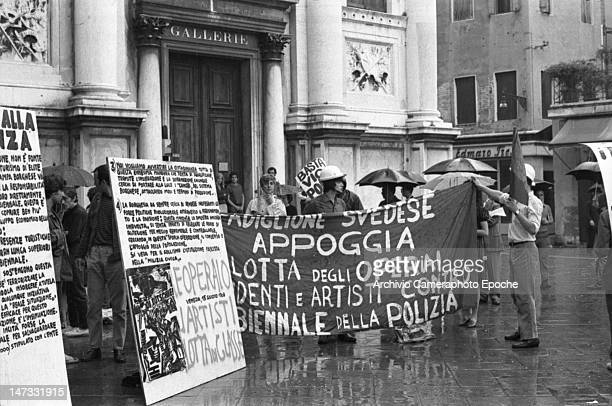 Students and workers holding banners against the Biennale in front of the Accademia galleries Venice 1968
