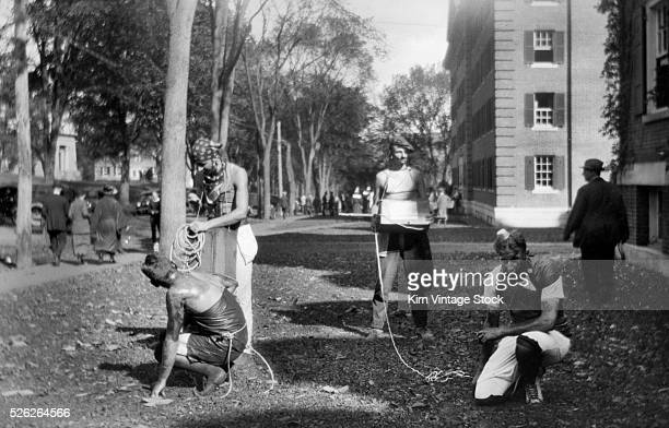 Students appear to be involved in a hazing prank at Dartmouth College in the 1920s