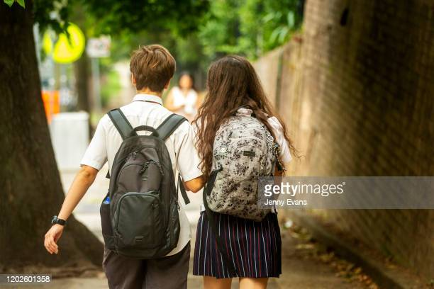 Students are seen arriving for school in Chatswood on January 29 2020 in Sydney Australia The education department has asked for students who have...