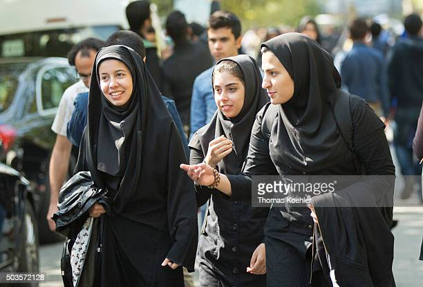 Students are seen at campus of Tehran University on October 18 2015 in Tehran Iran