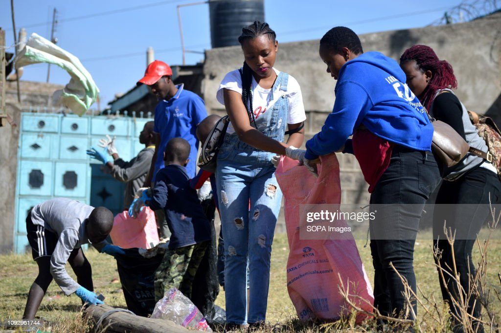 Students are seen conducting a cleanup exercise during this... : News Photo
