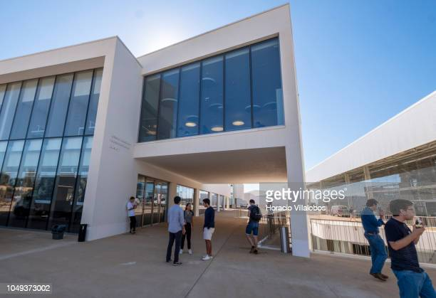 Students are seen outside the library in Fidelidade Seguros Plaza at NOVA School of Business and Economics new campus on October 04 2018 in...