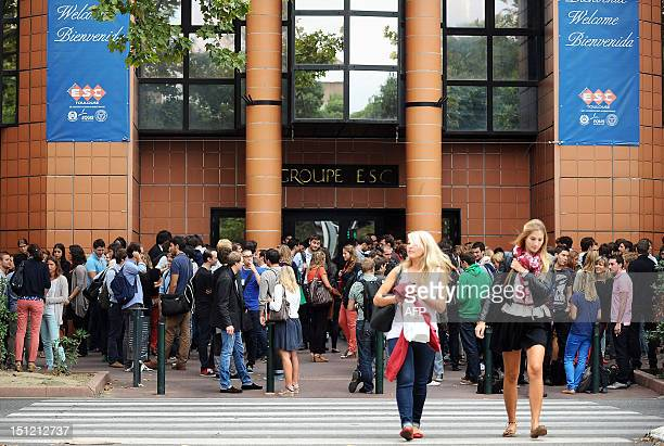 Students are waiting around past Toulouse's ESC business school on September 4 before the start of the new school year in VillefranchedeLauragais...