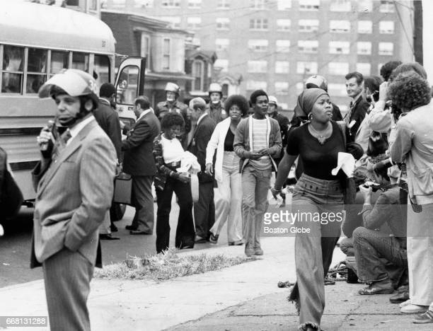 Students arrive at South Boston High School on Sep 8 1975 as schools reopen under Phase 2 of the desegregation plan ordered by the US District Court