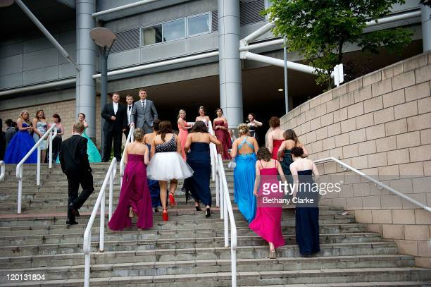 Students arrive at St James' Park, the venue for the school prom on July 1, 2011 in Newcastle, United Kingdom. After months of preparation more than...