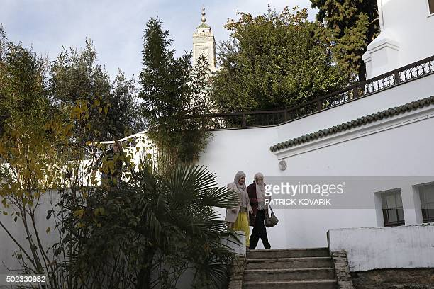 Students arrive to follow a theology training class for futur imams and clerics at the AlGhazali institute of the Grand Mosque of Paris on December...