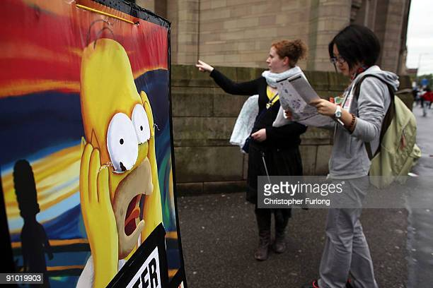 Students arriving for Manchester University's freshers week consult their campus map on September 22 2009 in Manchester England As students arrive...