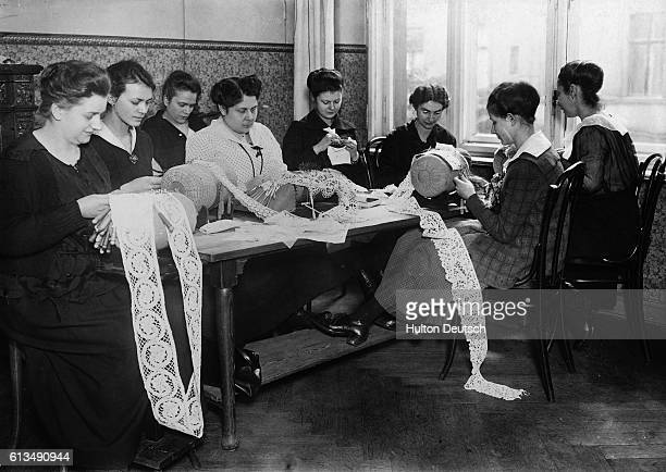 Students at a Berlin lace school.