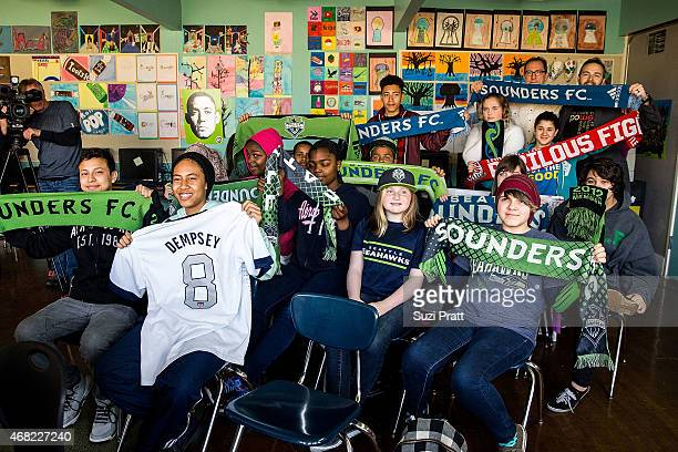 Students at Big Picture School react to the We Day Seattle talent announcement on March 31 2015 in Burien Washington