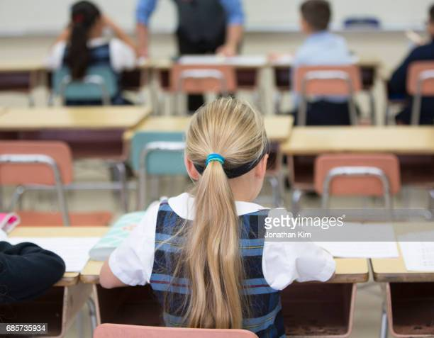 students at catholic school. - katholicisme stockfoto's en -beelden