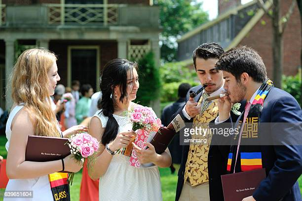 students at commencement - boarding school stock photos and pictures