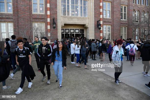 Students at Denver South High School walk out of classes in solidarity protesting gun violence March 14 2018
