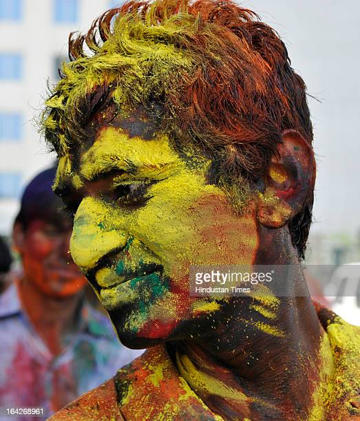 Students at Design and Innovation Academy celebrating Holi ahead of the festival which will be celebrated across country on March 27 at Sector 62 on...