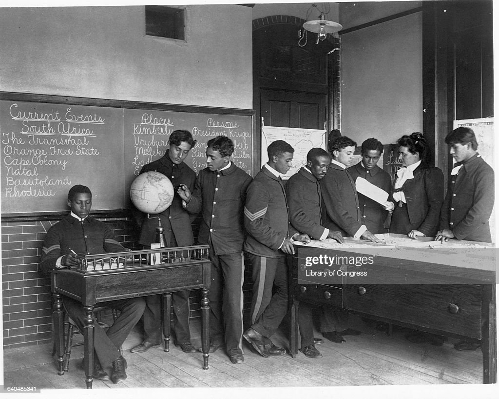 Students at Hampton Institute, Virginia attend current events class, 1899.