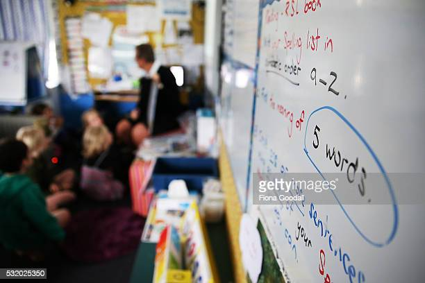 Students at Laingholm Primary School in Waitakere work in their classroom on May 18 2016 in Auckland New Zealand Education is expected to get a...