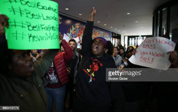 Students at Madison Park High School in Boston walk out of school to protest the removal of the school's executive director on Dec 8 2017 The...