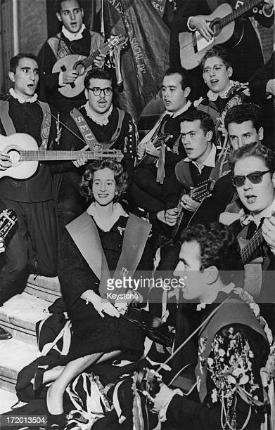 Students at Madrid University serenade Dona Fabiola who is to marry King Baudouin of Belgium 12th October 1960