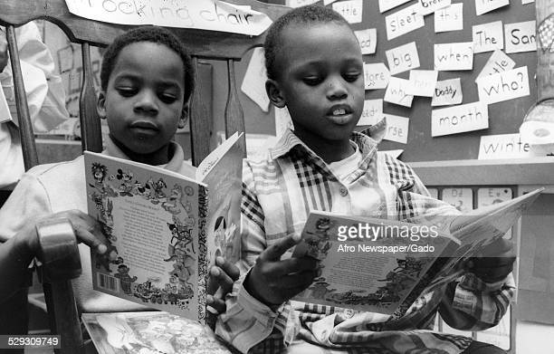Students at Malcom X Primary School Baltimore Maryland March 23 Original Caption Reads 'SixYearOld Christopher ClarkJr Reads Pinnocchio While Sharing...