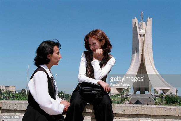 Students at Maquam E'chahid or Monument des Martyrs in Algiers