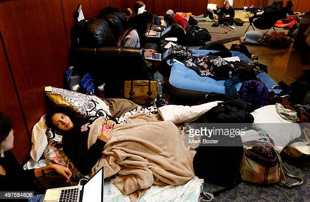 Students at Occidental College in Eagle Rock spend their second day occupying the Walter G Coons Administrative Center in protest over the...