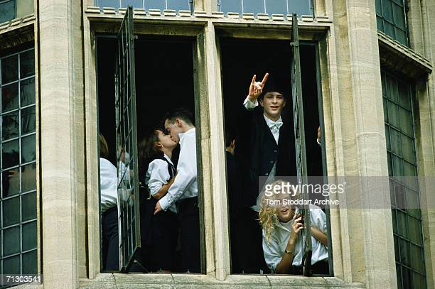 Students at Oxford University enjoy high jinx after the end of exams