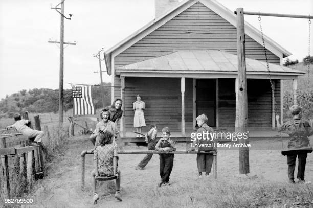 Students at Play at Rural Schoolhouse Wisconsin USA John Vachon for US Resettlement Administration September 1939