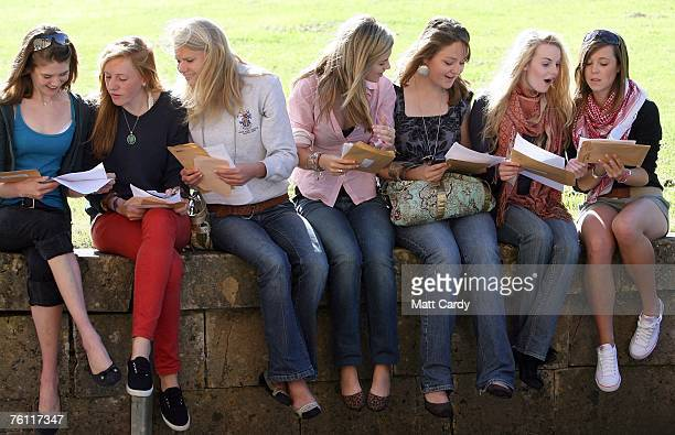 Students at Prior Park College look at their ALevel results outside their school on August 16 2007 in Bath United Kingdom Students scored a record...