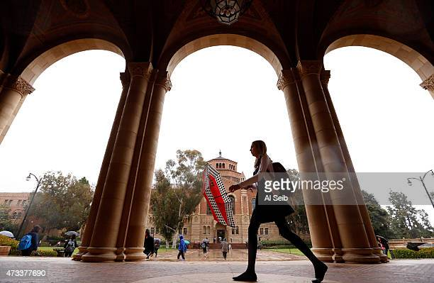 Students at Royce Hall on the UCLA campus May 14 2015 as California students at the University of California are getting a twoyear reprieve from...