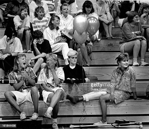 AUG 22 1987 Students at St Mary's Academy show differing reactions to a faculty presentation on a special welcoming day at the school Regular classes...