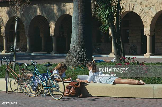 Students at Stanford University Stanford near Palo Alto California USA October 1989