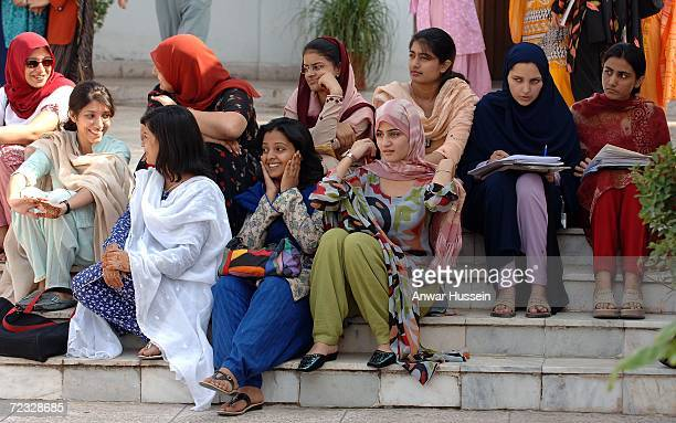 Students at the all female Fatima Jinnah University on the third day of a week long tour of the country on October 31 2006 in Islamabad Pakistan