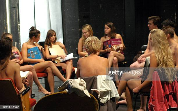 Students at the Hungarian university of Kaposvar town attend class wearing their underwear only on October 3 2013 in protest against a harsh dress...