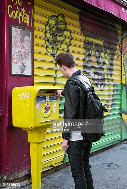 Students at the mailbox. Mail to their homes during the student placement in France.
