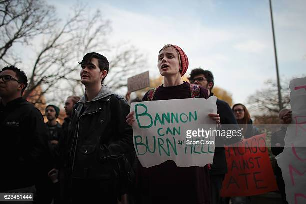 Students at the University of Chicago participate in a walk-out and rally to protest President-elect Donald Trump on November 15, 2016 in Chicago,...