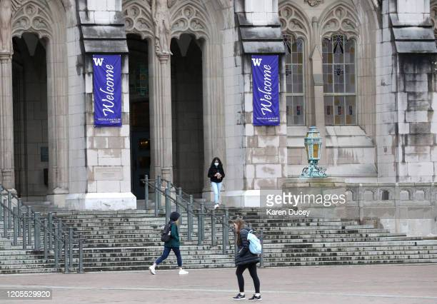Students at the University of Washington are on campus for the last day of in-person classes on March 6, 2020 in Seattle, Washington. The University...
