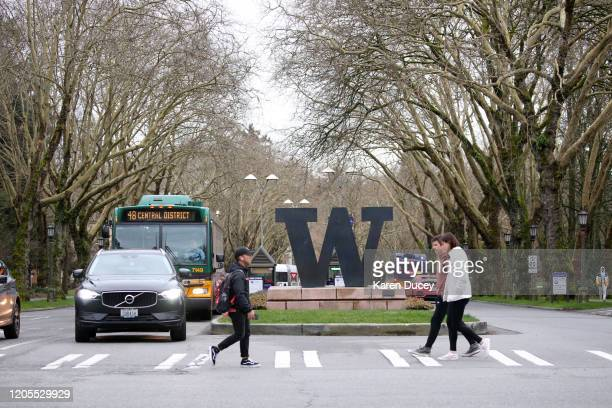 Students at the University of Washington are on campus for the last day of inperson classes on March 6 2020 in Seattle Washington The University will...