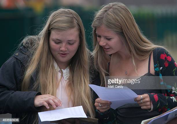Students at the Winterbourne International Academy react as they open their Alevel results on August 14 2014 in South Gloucestershire near Bristol...