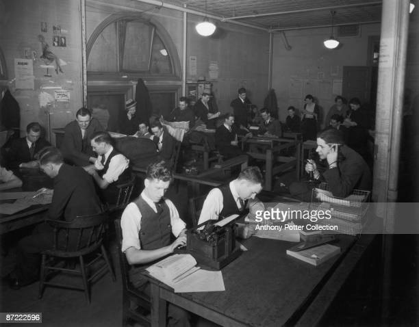 Students at work in the offices of the 'Minnesota Daily' the campus newspaper of the University of Minnesota Minneapolis circa 1932