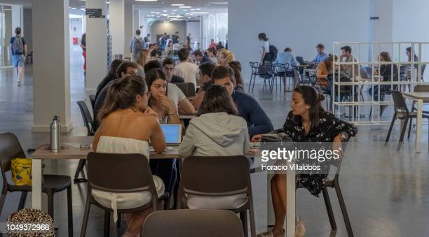 Students at work with their laptops in one of lounges at NOVA School of Business and Economics new campus on October 04 2018 in Carcavelos Portugal...