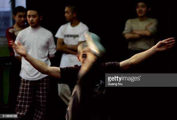Students attend a base skill class in the Peking Opera School on December 22 2004 in Beijing China The Peking opera is one of China's treasures with...