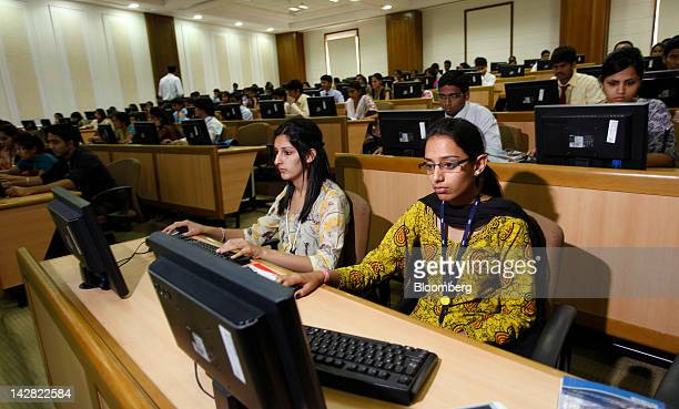 Students attend a class at the Infosys Ltd Global Education Centre campus in Mysore India on Monday Feb 20 2012 Infosys's Global Education Centre or...