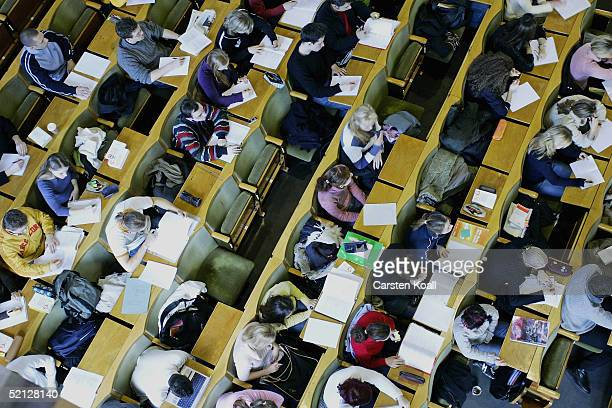Students attend a lecture in the Humboldt university on February 3 2005 in Berlin Germany More then 12000 students took to the streets of several...