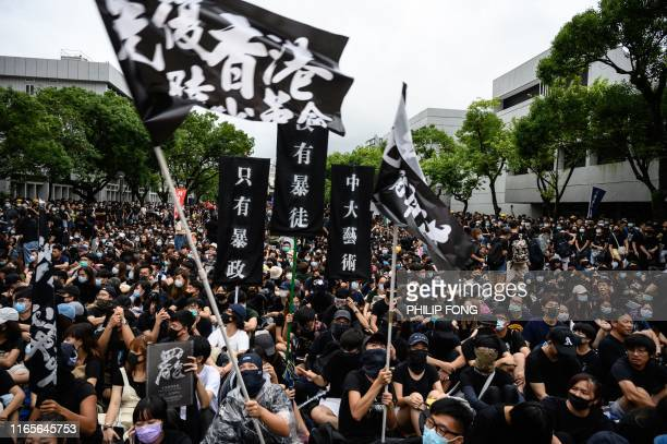 TOPSHOT Students attend a school boycott rally at the Chinese University of Hong Kong on September 2 in the latest opposition to a planned...