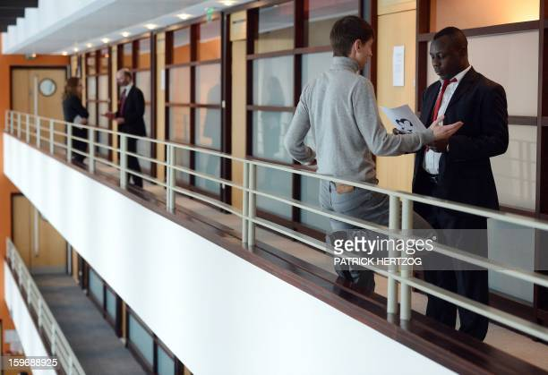 SIMON Students attend a trading seminary outside a classroom of the Ecole Nationale d'Administration on January 15 2013 in Strasbourg eastern France...