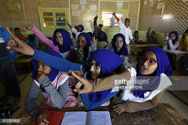 Students attend class at a school in the Smara refugee camp in Algeria's Tindouf province on February 25 2016 The Western Sahara is a territory...