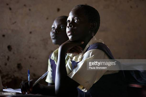Students attend classes at the Ephatha Primary school July 18, 2012 in Juba, South Sudan. South Sudan recently celebrated it's first anniversary of...